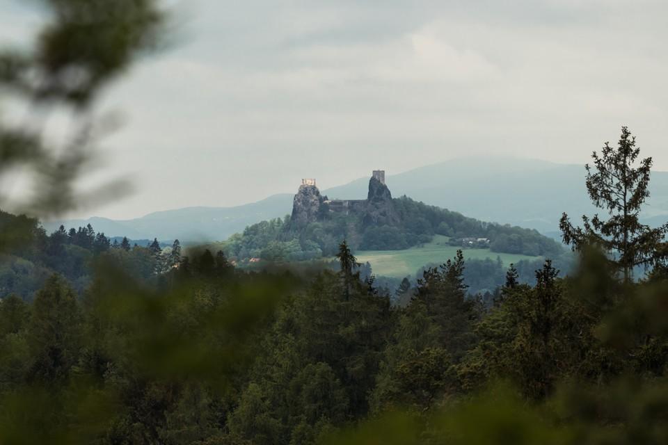 Castle ruins Trosky bohemian paradise
